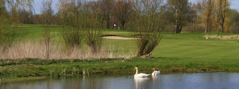 Den nye aflange sø på hul 2 på Gilleleje Golfklub. Banens sværeste hul.